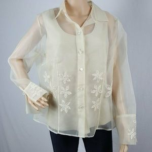 NWT Blouse 2 Pc. Size 18 Long Sleeve Beige